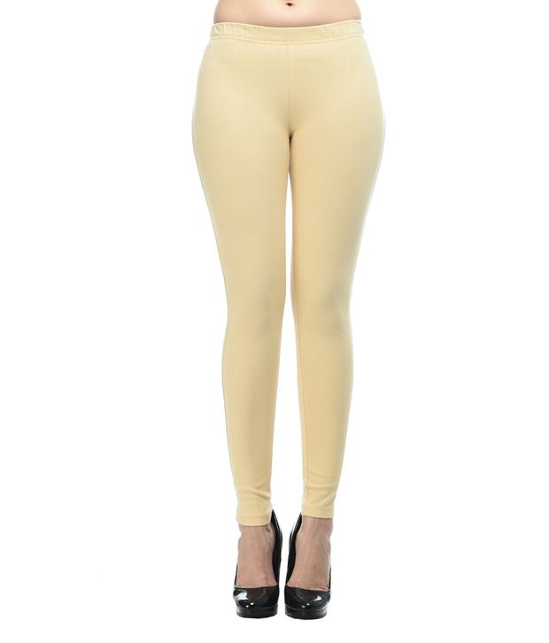 Frenchtrendz Beige Cotton Lycra Jeggings
