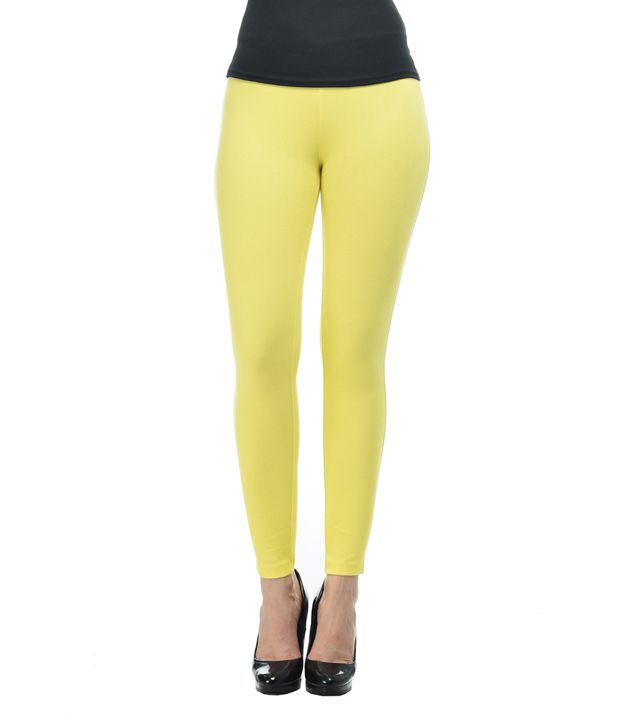 Frenchtrendz Yellow Cotton Lycra Jeggings