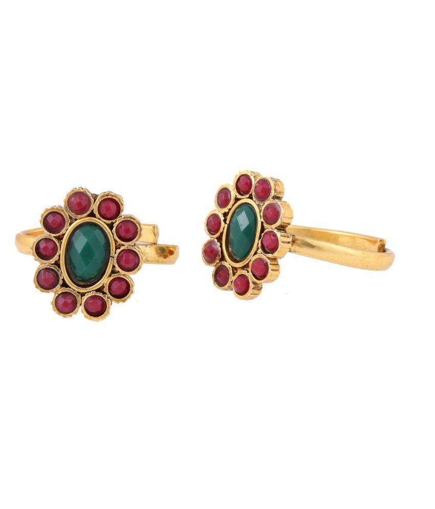Jstarmart Style Diva Golden Alloy Designer Coloured Bead Toe Ring