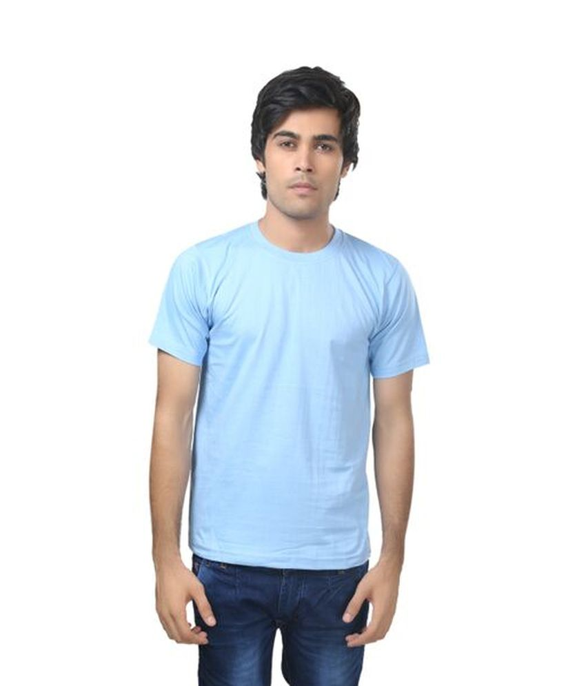 Louis Mode Blue Cotton Round Neck Half T-Shirt For Men