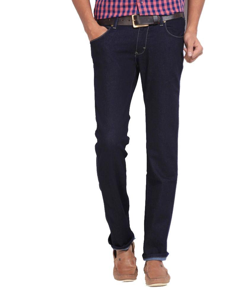 Wrangler Black Cotton Slim Jeans For Men