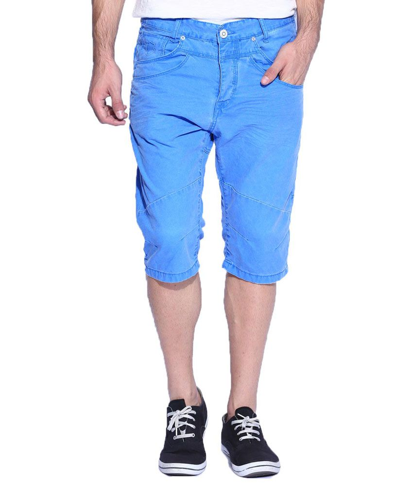 883 Police Blue Cotton Solids Shorts