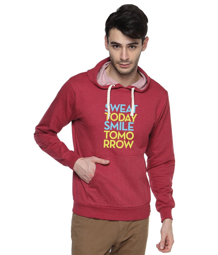 Campus Sutra Maroon Cotton Sweatshirt