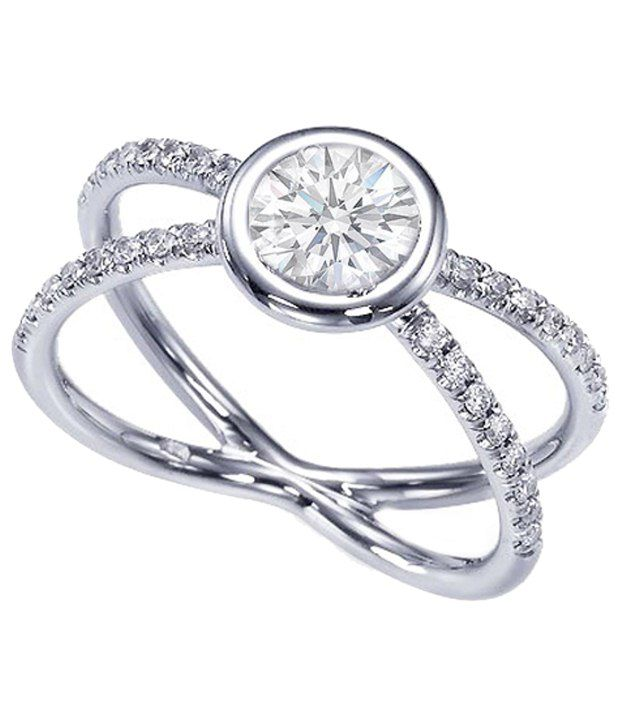 Cara Design House Fantastic Look 92.5 Sterling Silver CZ Ring with Free Swarovski Stud Earrings for Women