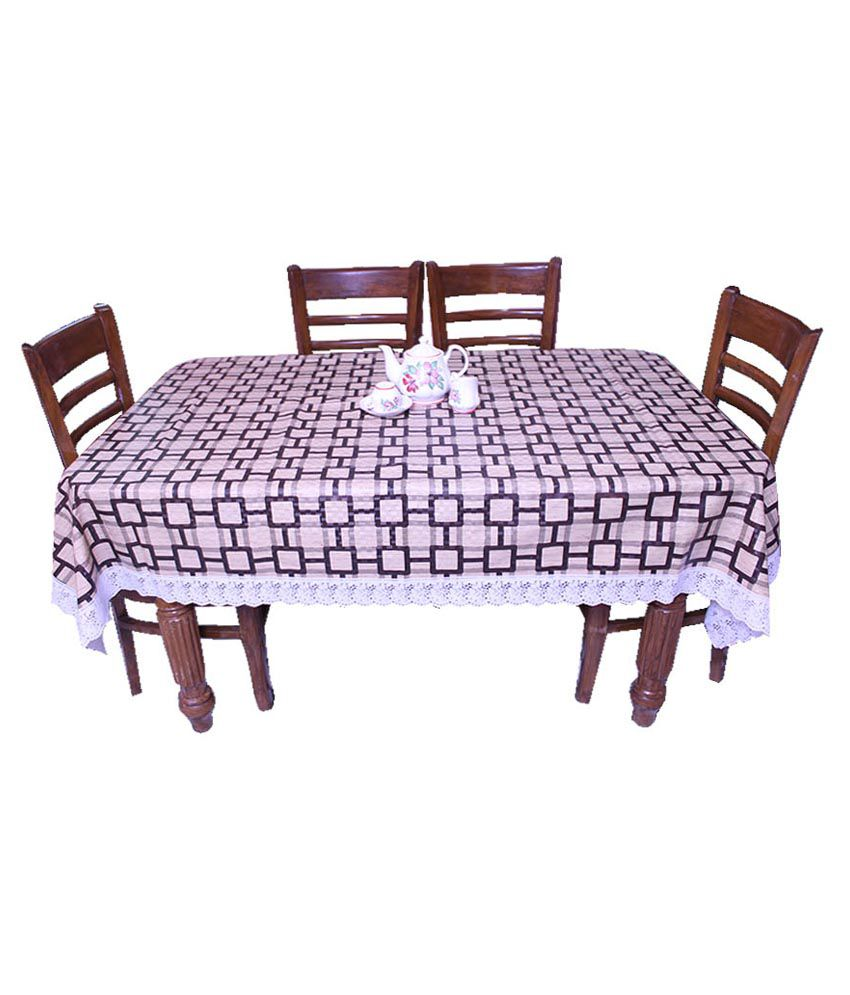 E-retailer Brown Geometrical 8 Seater Dinning Table Cover