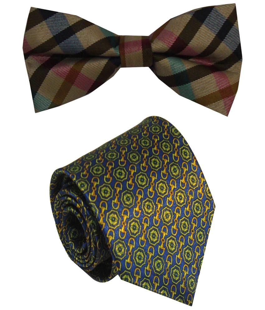 Leonardi Sensational Set of Green Broad Necktie & Beige Bow Tie for Men