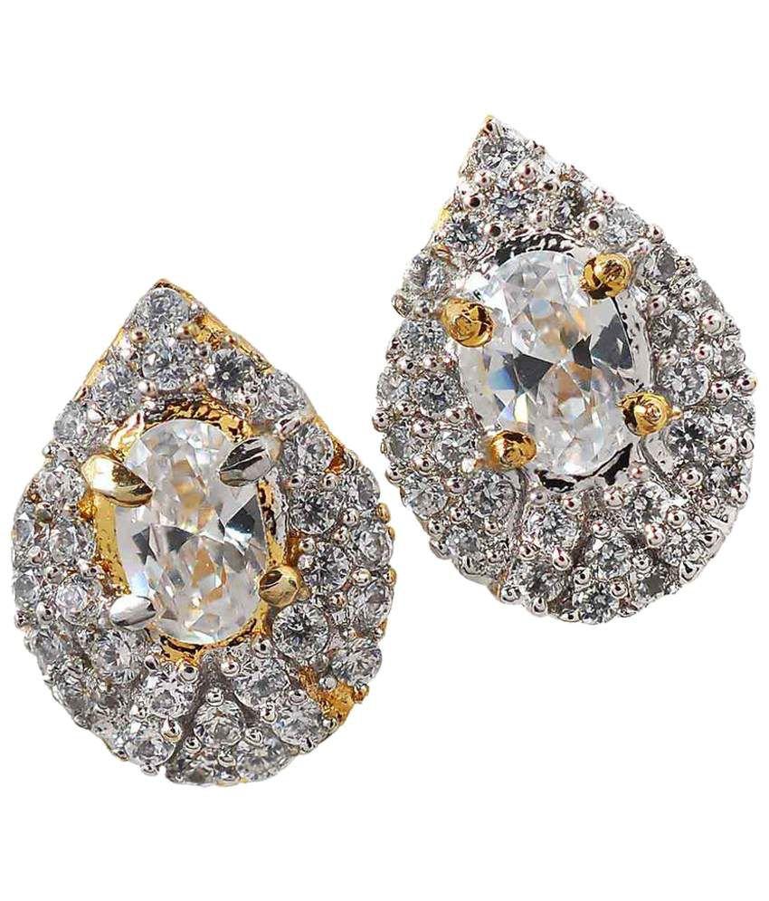 Maayra Glistening Golden American Diamond Stud Earrings