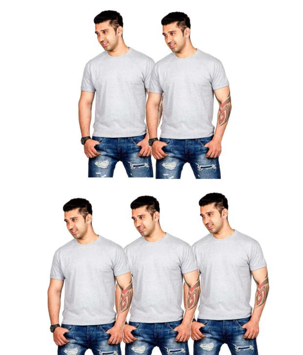 Now Combo of Gray Cotton T-shirts (Pack of 5)