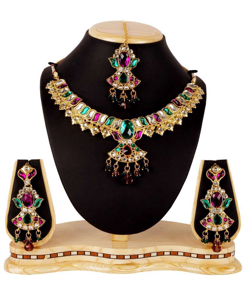 Subh Green Designer Alloy Necklace Set