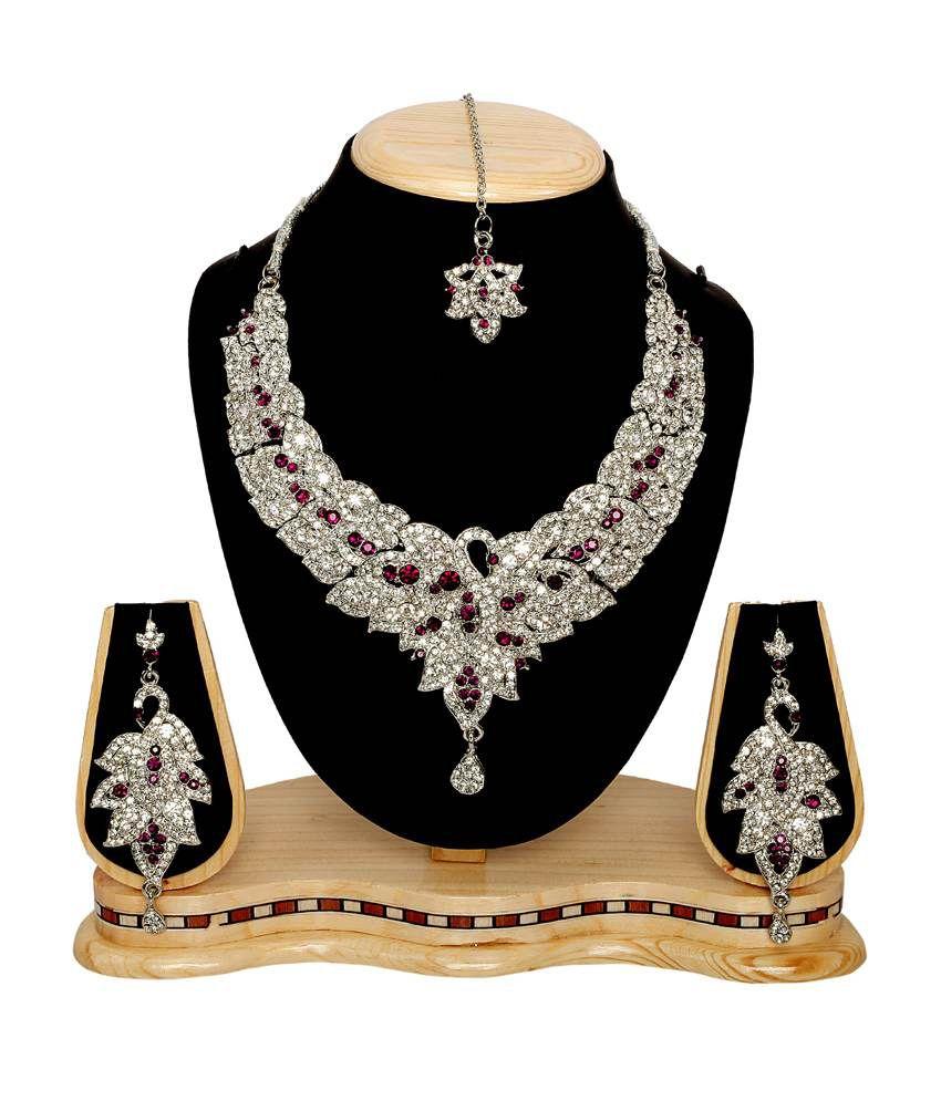 Subh Silver Designer Alloy Necklace Set