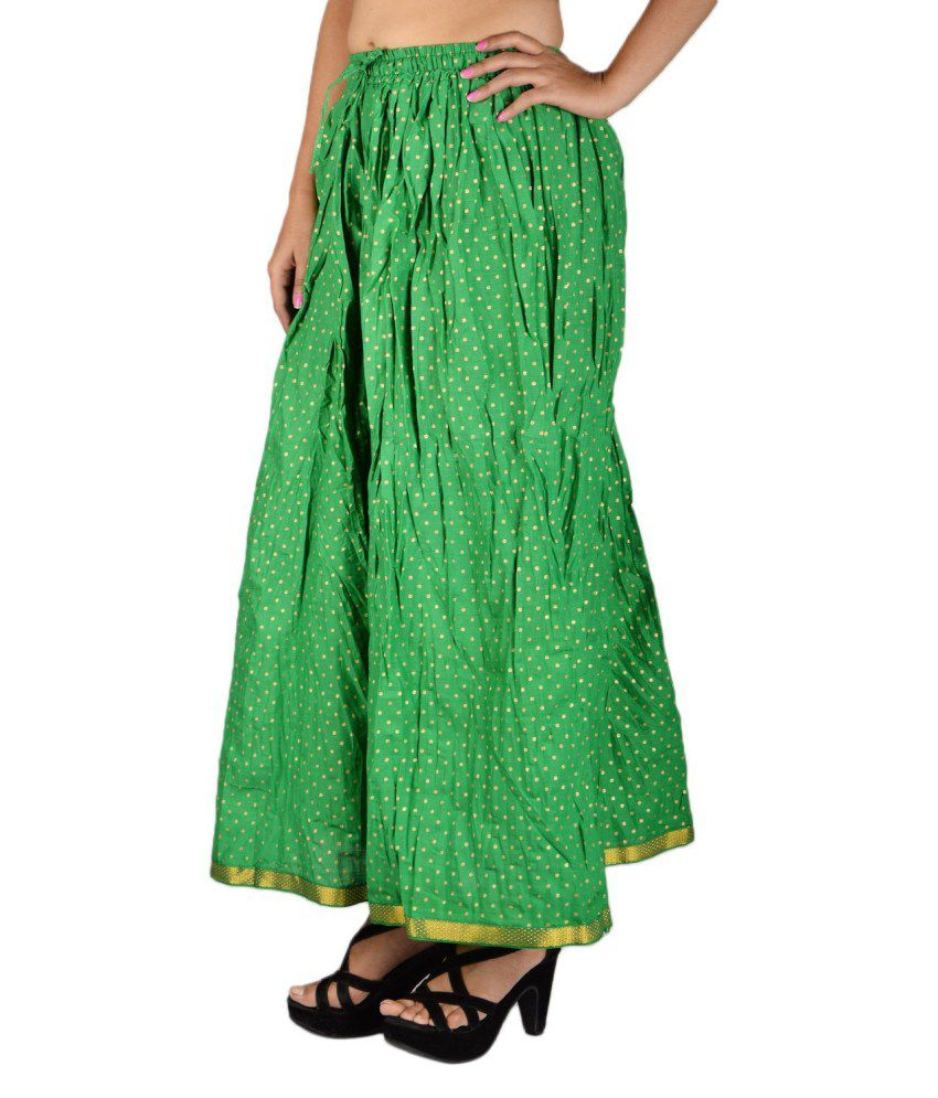 Buy aura life style cotton long skirt online at best for Style green