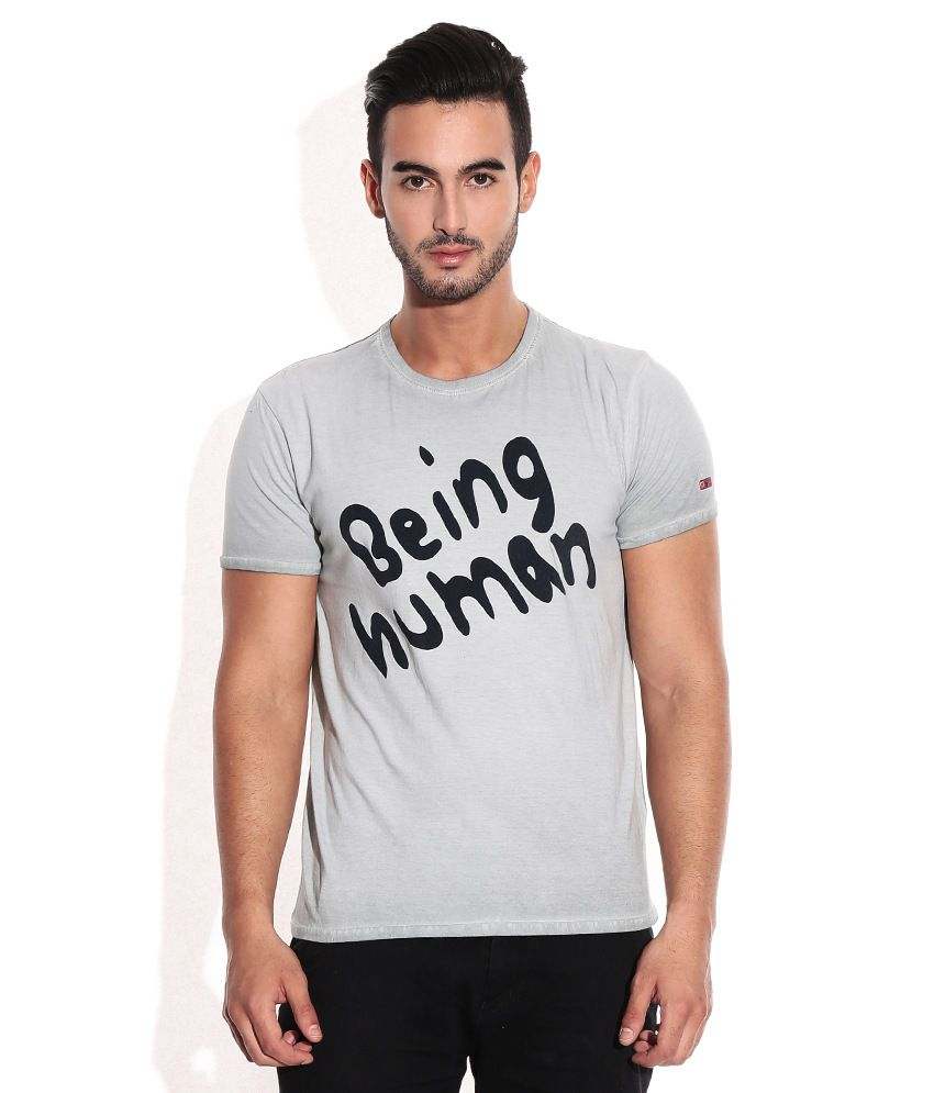 Being Human Gray & Black Cotton T Shirt