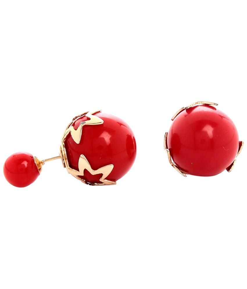 GoldNera Durable Red & Golden Enamel Stud Earrings