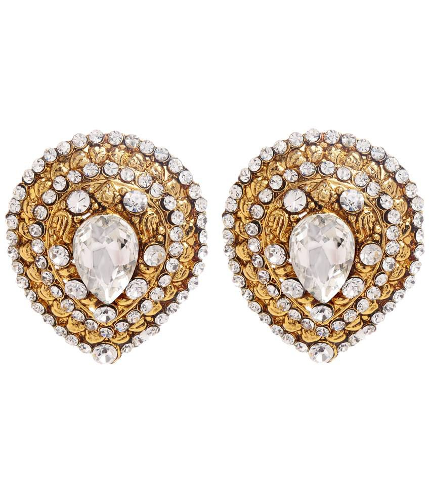 GoldNera Silver & Golden Crystal N CZ Stud Earrings