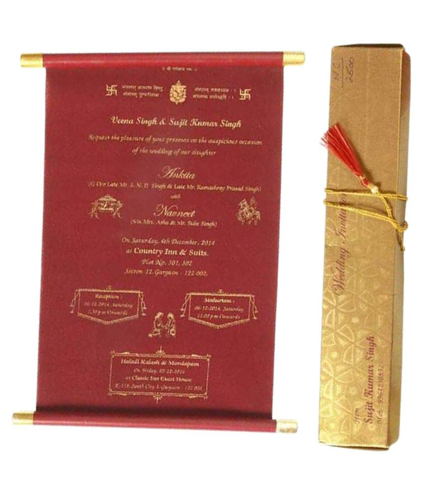 nakoda cards golden crimson lagna patrika pack of 100 buy online
