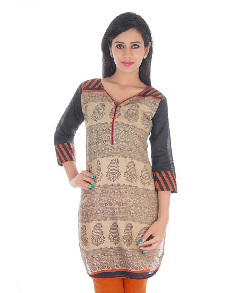 Pranjal Creations Tan Cotton Kurti