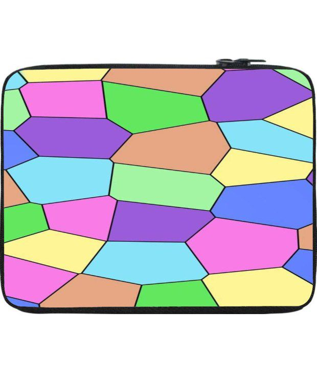 Snoogg Green and Pink Laptop Sleeve