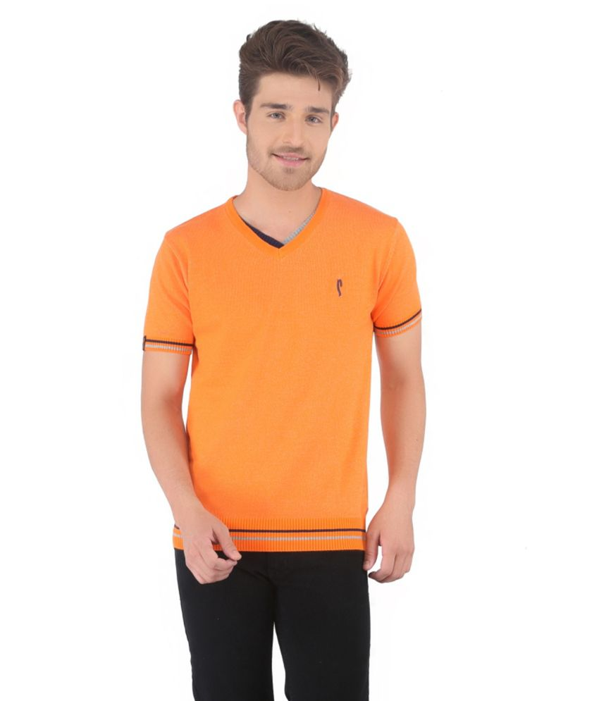 Stride Orange Cotton V-Neck