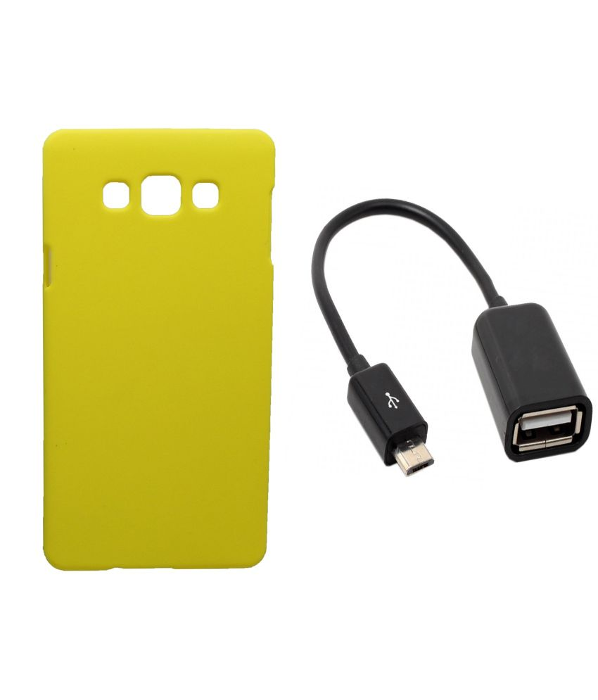 Toppings Hard Case Cover With OTG Cable For Samsung Galaxy Grand Prime - Yellow