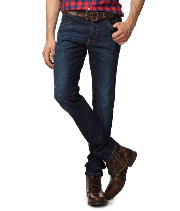 American Bull Blue Cotton Blend Skinny Fit Jean For Men