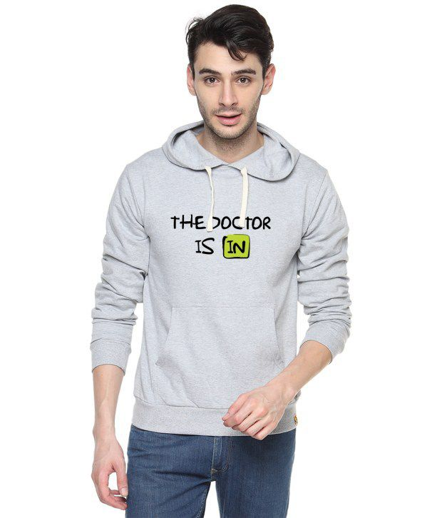 Campus Sutra Gray Cotton Full Sleeved Sweatshirt With Quotes