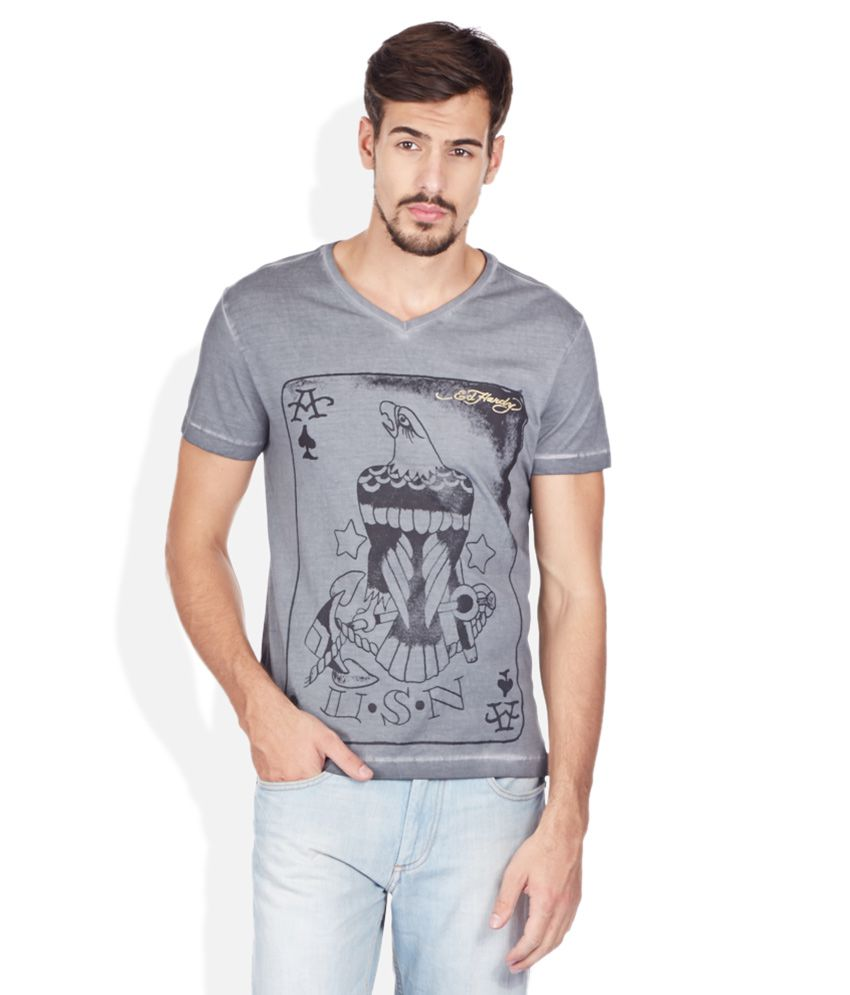 Ed Hardy Gray V-Neck T Shirt