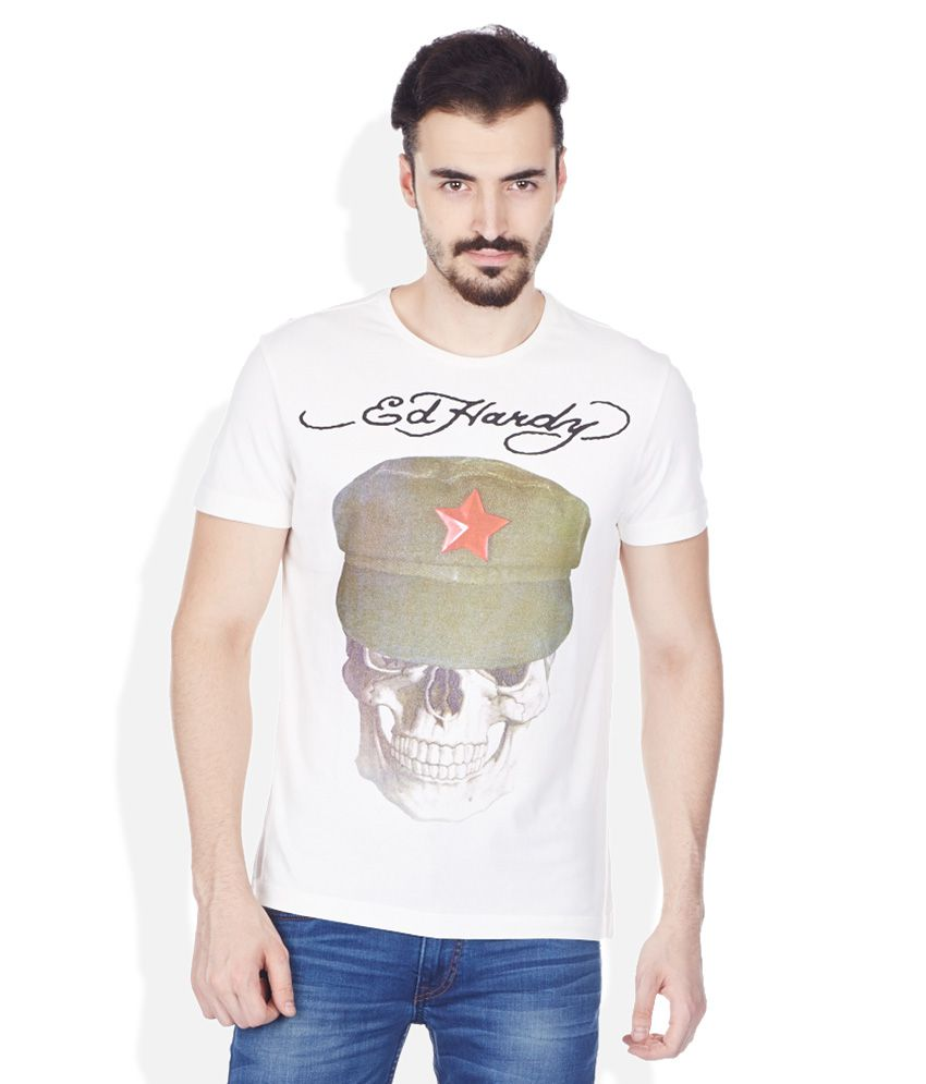 Ed Hardy White Round Neck T Shirt