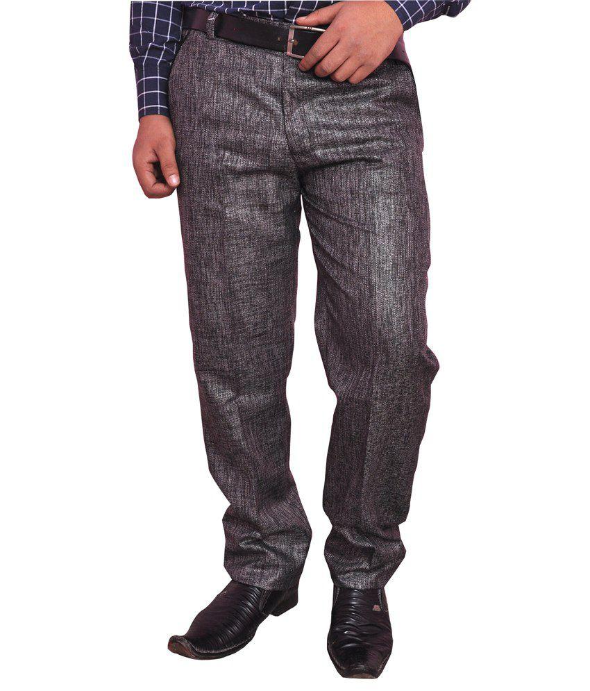 Larwa Black Poly Viscose Casual Trouser