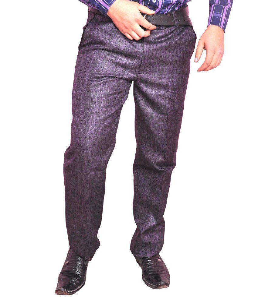 Larwa Purple Poly Viscose Casual Trouser