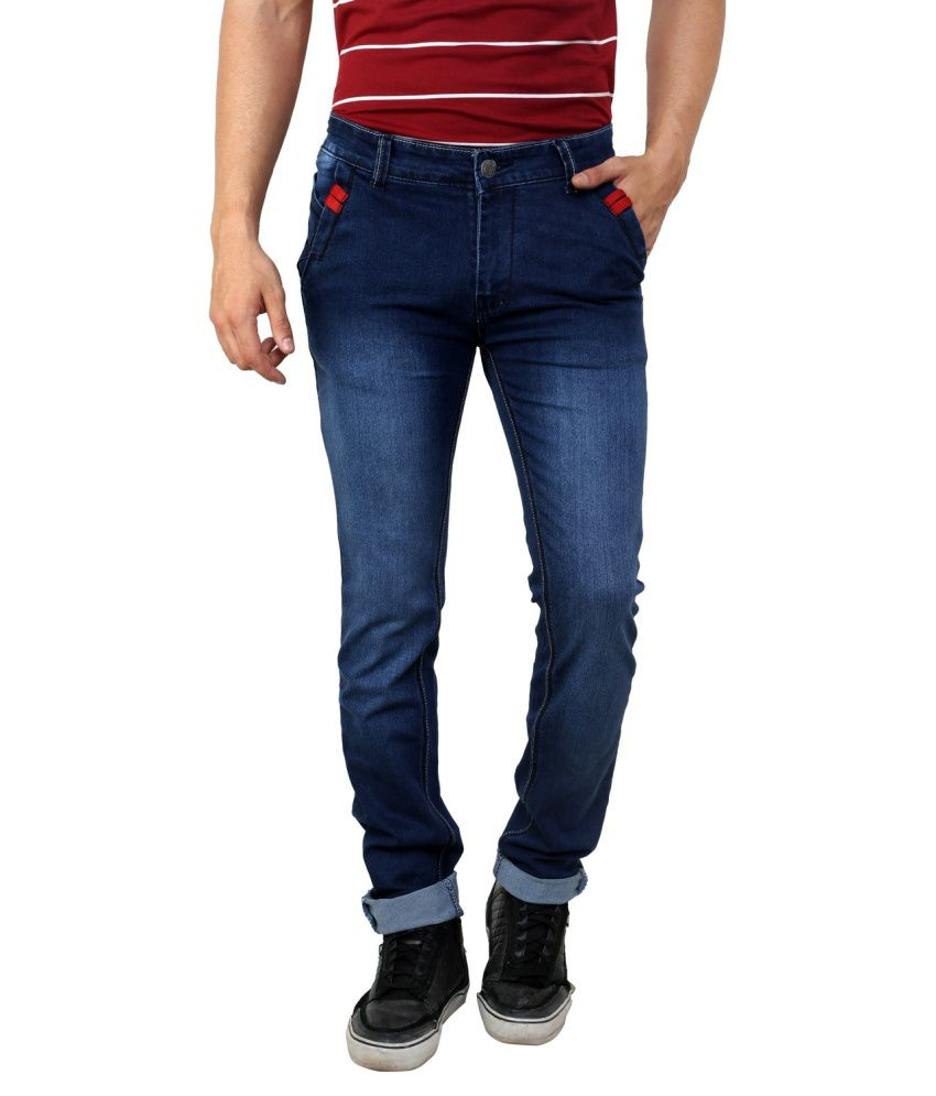 Mind Freak Blue Cotton Blend Slim Jeans