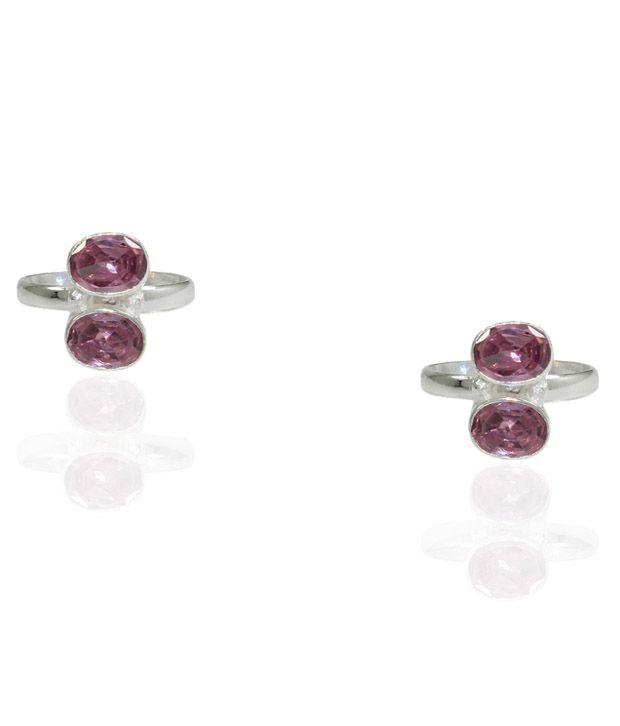 Pehchan Floral Pink Zirconia German Silver Free Size Toe Ring