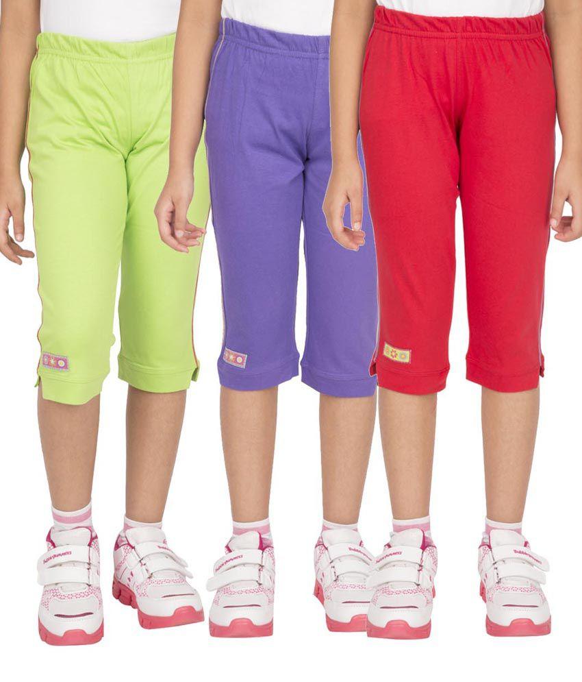 Ocean Race Multicolor Cotton Elastic Capris - Pack of 3