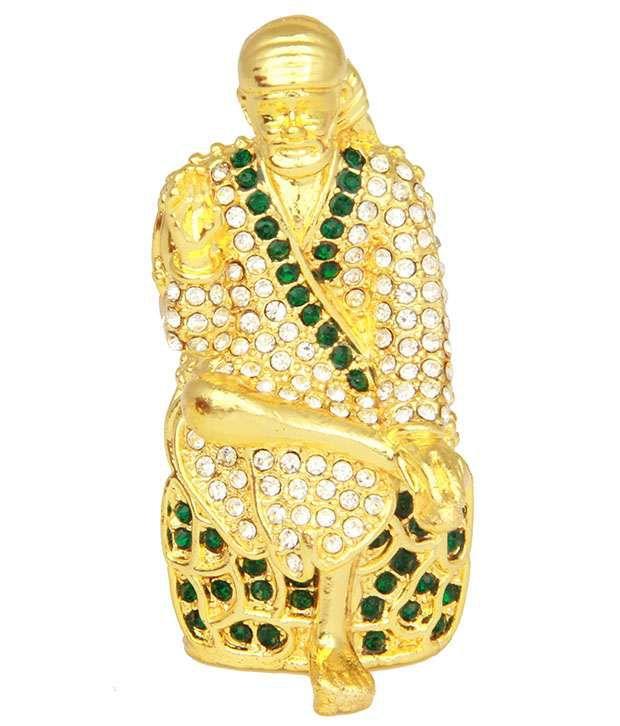Adaa Gold Plated Sitting Sai Baba Car Dashboard Idol (green)