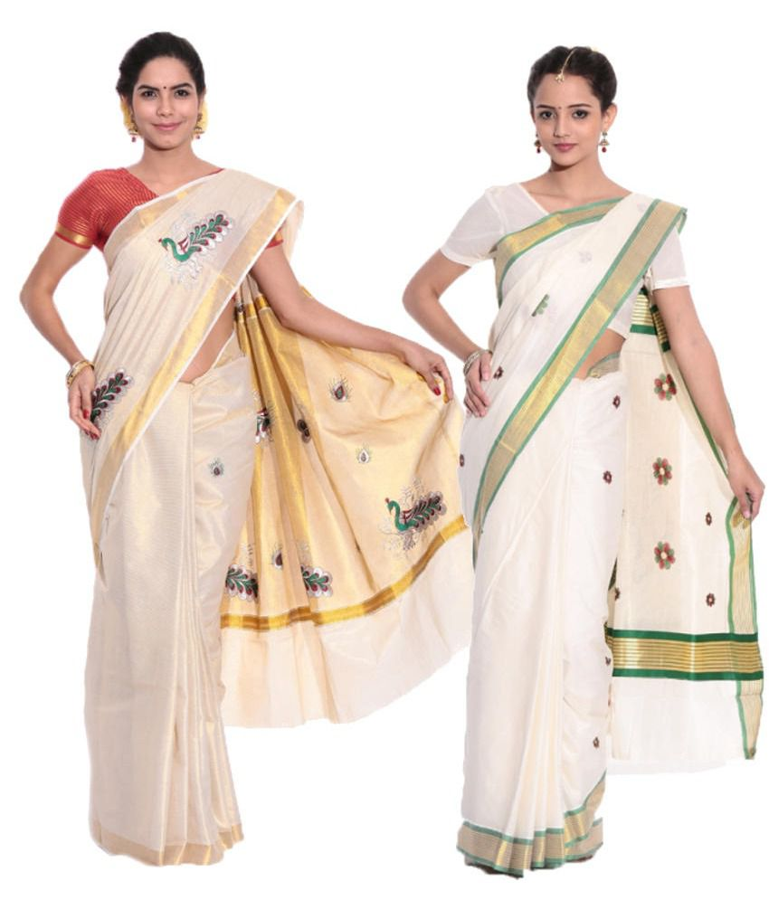 Fashion Kiosks GhostWhite and Beige and White and Beige Cotton Saree