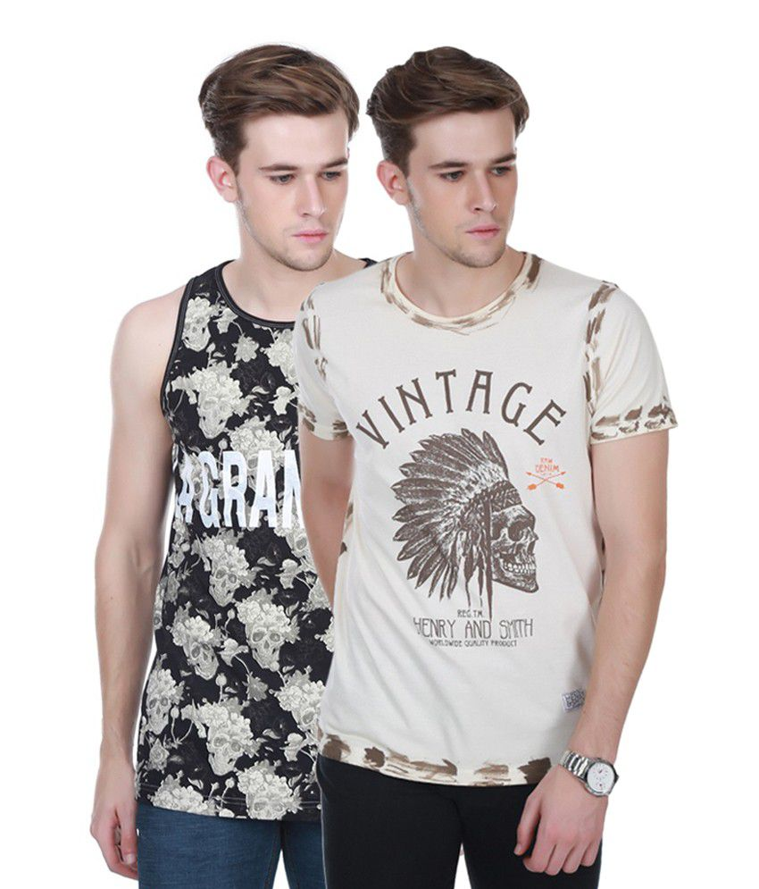 Henry and Smith Black & Beige Cotton Printed T-shirts (Pack of 2)