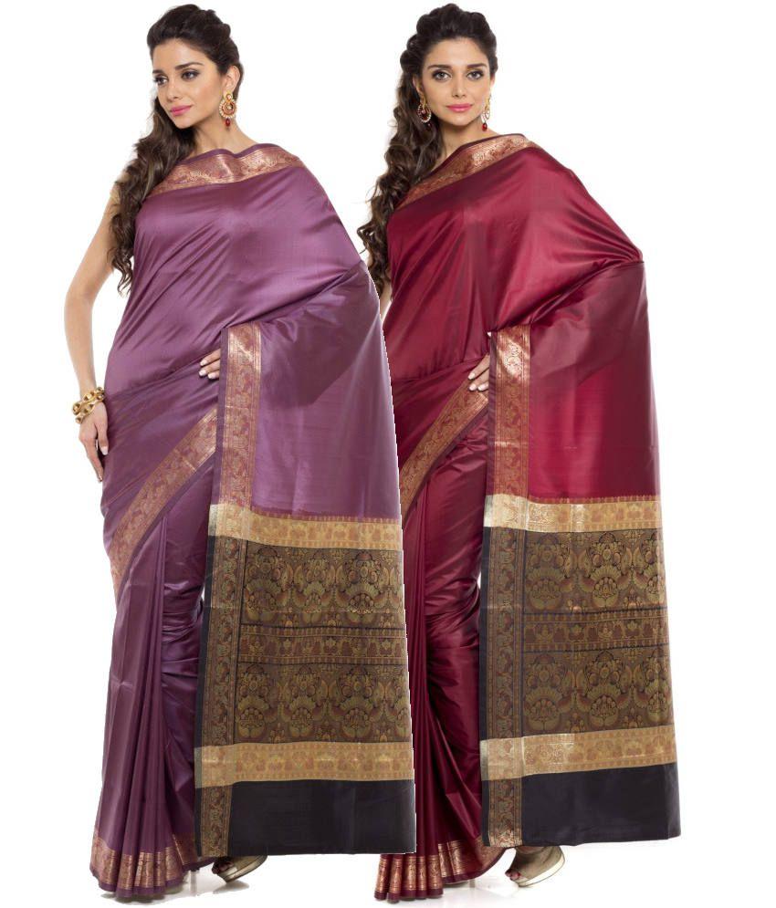 Sudarshan Silks Maroon and Purple Art Silk Pack of 2