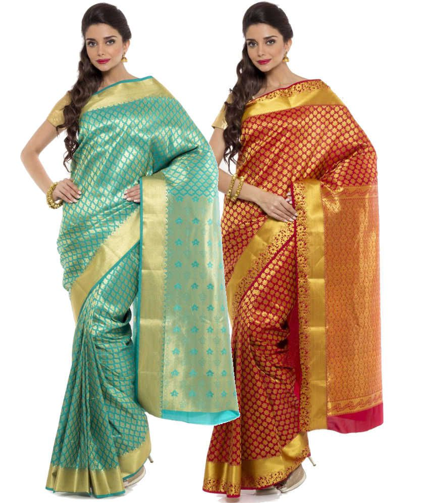 Sudarshan Silks Red and Turquoise Art Silk Pack of 2