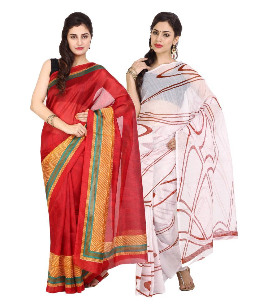 Aaboli White and Red Art Silk Pack of 2