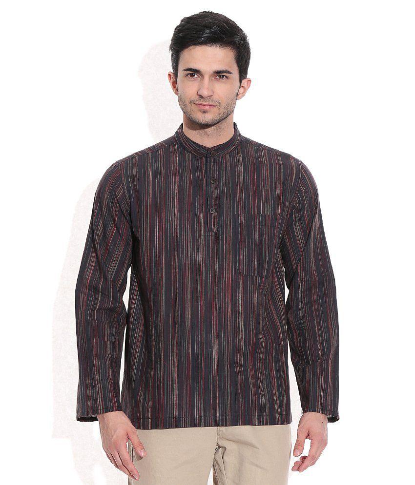 Fabindia Black Cotton Striped Short Kurta