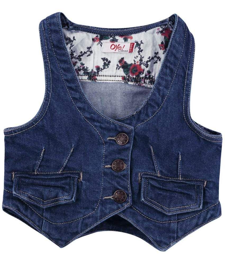 Oye Blue Denim Vest Jacket for Girls