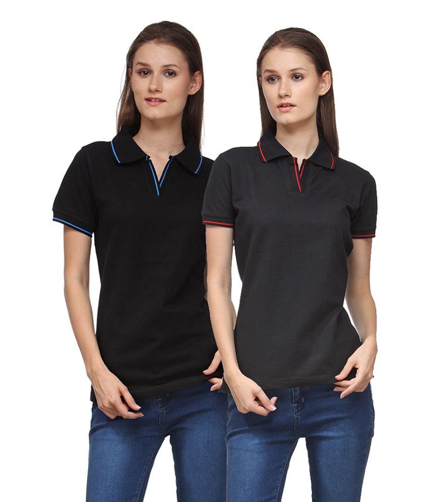 Scott International Black Cotton Blend Polos