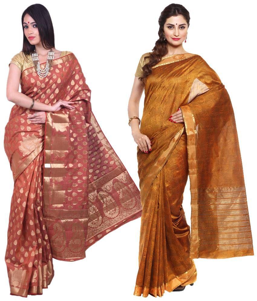 Sudarshan Silks Orange & Brown Raw Silk Pack of 2
