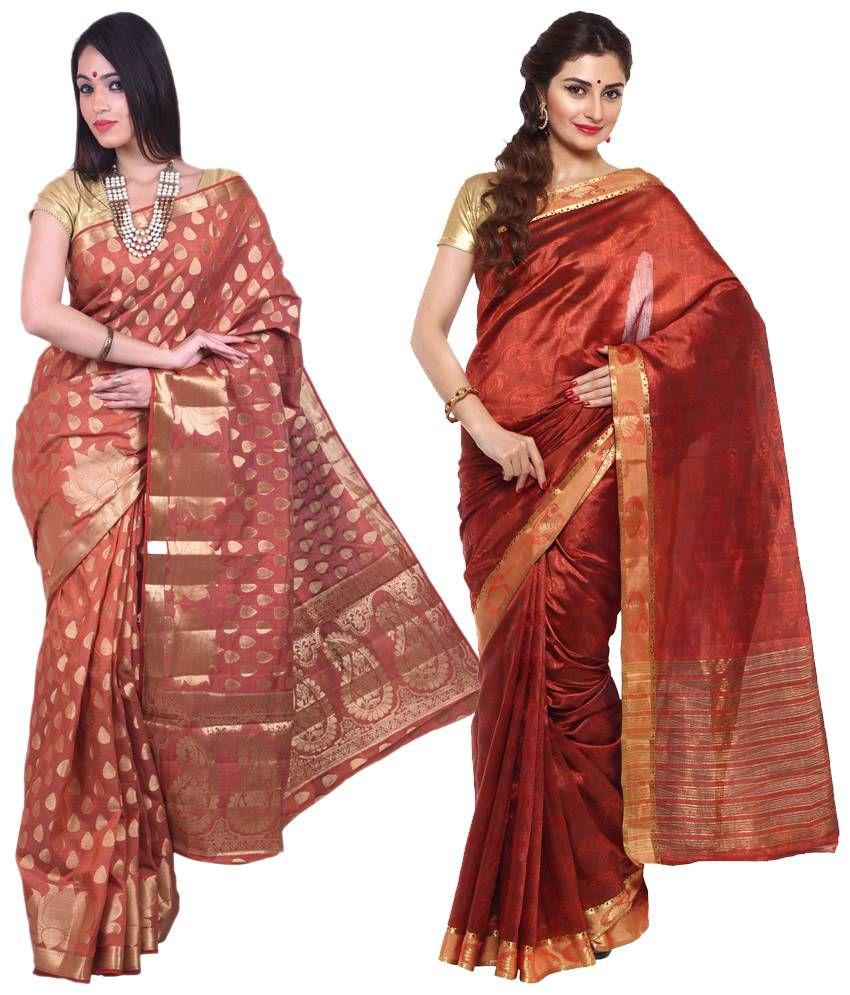 Sudarshan Silks Red & Brown Raw Silk Pack of 2