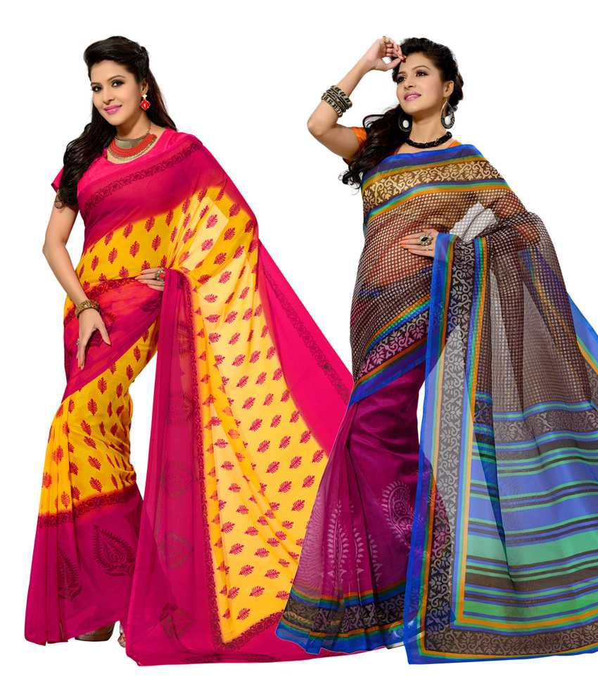 Vritika Pink & Brown Art Silk Pack of 2