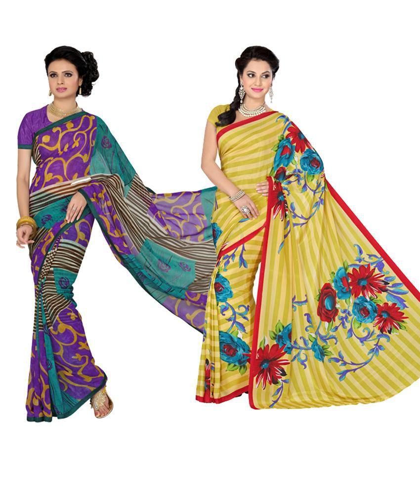 Vritika Purple & Yellow Art Silk Pack of 2