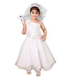 Ahhaaaa White Cotton Sleeveless Party Wear Dress