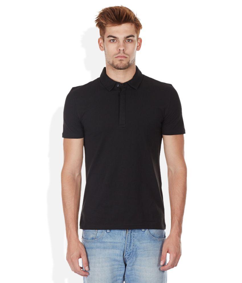 Celio Black Polo Neck T Shirt Buy Celio Black Polo Neck