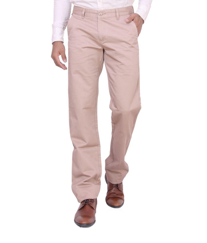 Dad Beige Cotton Lycra Formal Trouser For Men