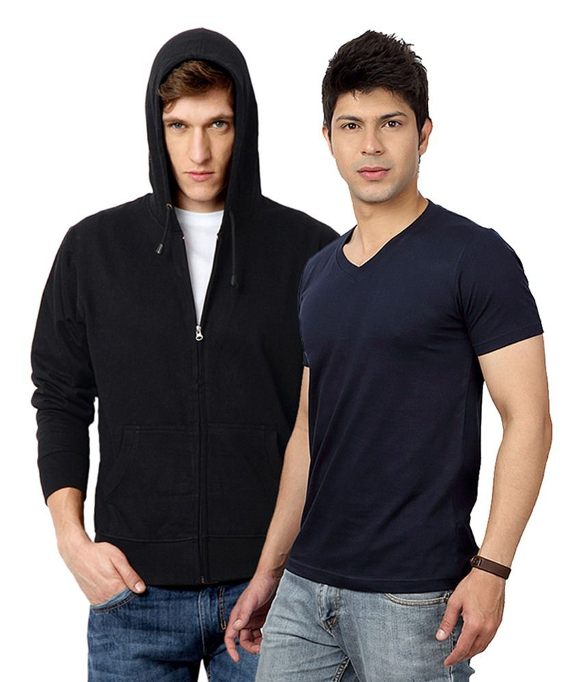Entigue Combo Of Black Hooded Sweatshirts With V Neck Blue