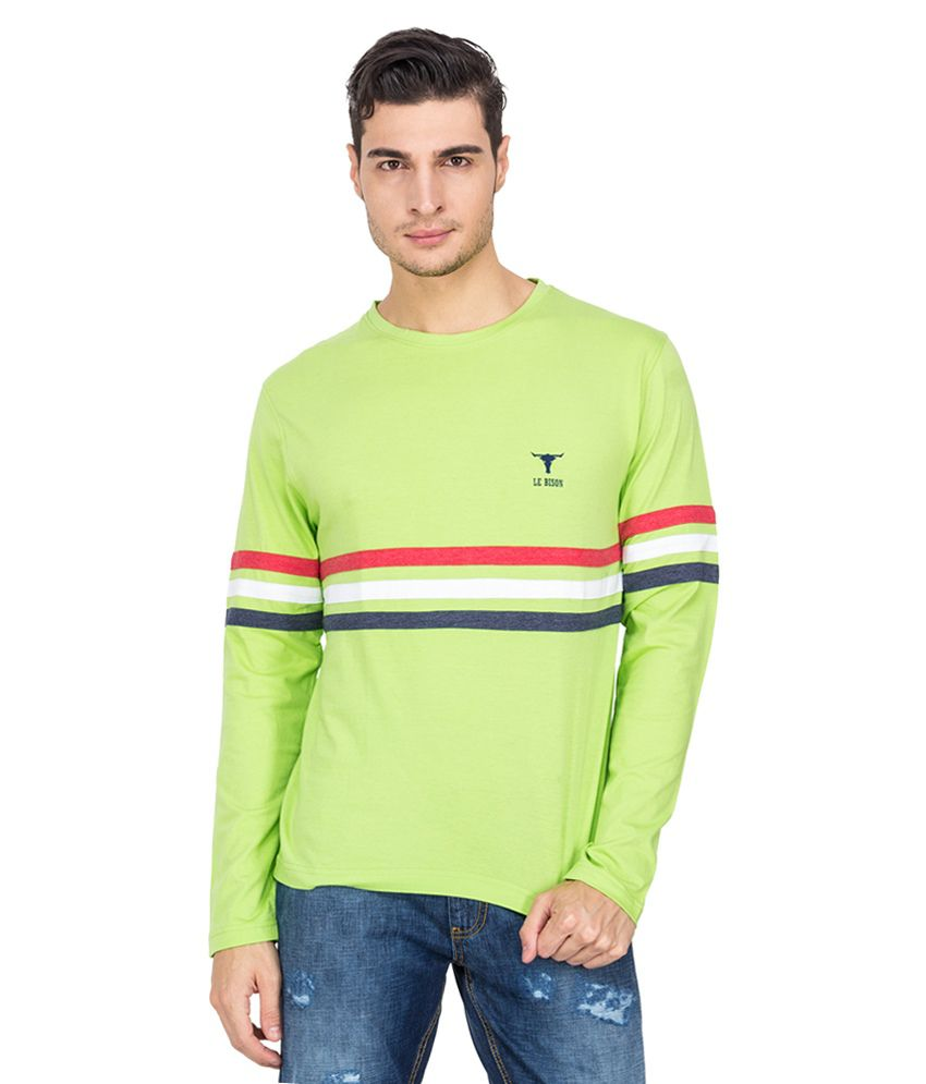 Le Bison Green Cotton Round Neck Full Sleeves T-Shirt